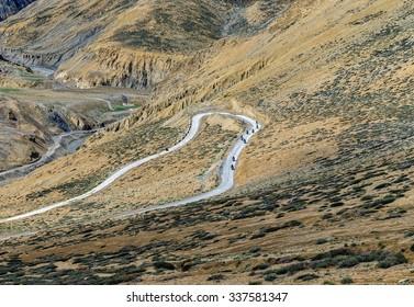 Beautiful mountains on Leh - Manali highway near to Pang village - Tibet, Leh district, Ladakh, Himalayas, Jammu and Kashmir, Northern India