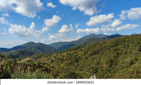 beautiful mountians and blue sky view with beautiful clouds, wonderful nature background , sunshine day with scenery mountain and clouds , background or space for text caption.