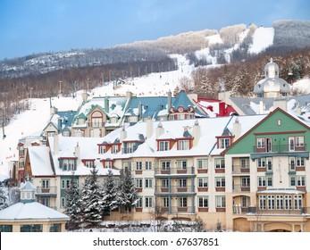 Beautiful Mount-Tremblant ski resort winter view Canada