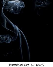 Beautiful movement white smoke on black,
