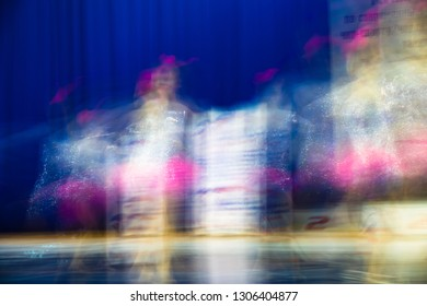 Beautiful movements in dance, shot on long exposure. Children ensemble. Moscow. Russia