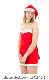 Beautiful Mrs. Claus looking embarrassed