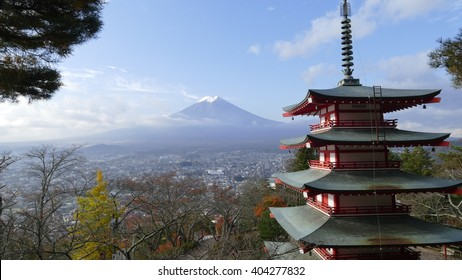 The Beautiful of Mt. Fuji with fall colors in Japan