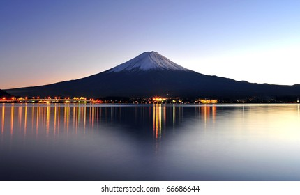 Beautiful mt Fuji in twilight