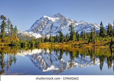 Beautiful Mt. Shuksan Reflecting on Picture Lake