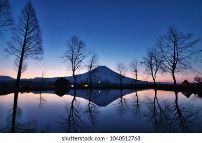 """Beautiful Mt.Fuji at dawn in """"Fumotoppara camping ground"""", Shizuoka, Japan."""