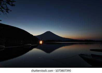 """Beautiful Mt.Fuji at dawn in """"Lake TANUKIKO"""", Shizuoka, Japan."""