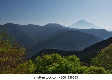 Beautiful Mt.Fuji seen from SANO Mountain Pass.  Yamanashi prefecture, Japan.
