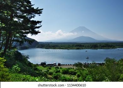 Beautiful Mt.Fuji seen from Shojiko lake in summer season. Yamanashi prefecture, Japan.