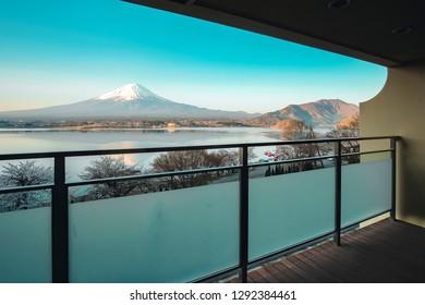 Beautiful Mt.Fuji view at balcony of Traditional ryokan resort at Kawaguchiko lake, Yamanashi, Japan