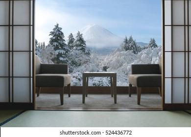 Beautiful Mt.Fuji view at window resort near Kawaguchiko lake at Japan. winter, Travel, Vacation and Holiday in Japan.