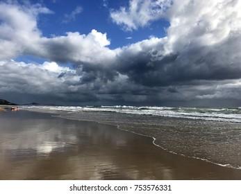 Beautiful Mudjimba beach on Sunshine Coast, Queensland, Australia with storm clouds moving in