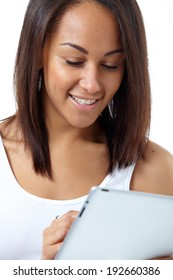 beautiful mulatto girl with pc tablet