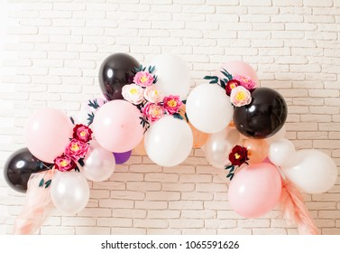 beautiful multicolor balloons with flowers