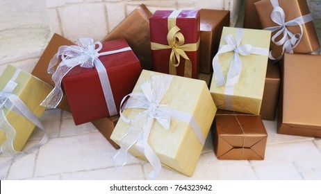 Beautiful Multicolor Present / Gift Boxes with Ribbon Bow for Background, Backdrop, or Wallpaper.