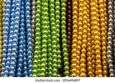 Beautiful multicolored beaded necklaces, jewelry and bijouterie