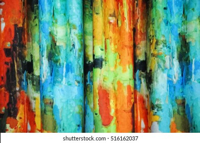 Beautiful  multicolored curtains witch abstract pattern, drapes, background, texture