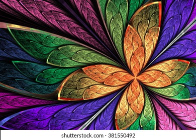 Beautiful multicolored fractal flower or butterfly in stained glass window style. Computer generated graphics.