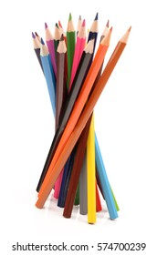 beautiful multi-colored pencils on a white background isolated