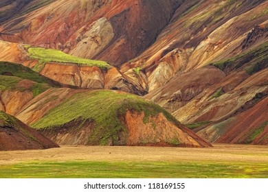 Beautiful multicolored rhyolite mountains at Landmannalaugar, Iceland (Island)