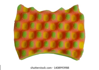 Beautiful multi-colored washcloth for the body. Isolated object on white background. Self-care.