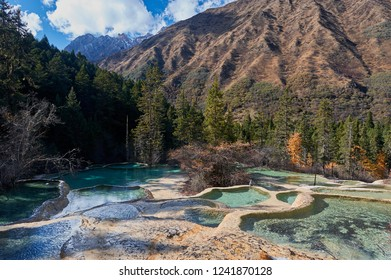 Beautiful Multi-coloured ponds and mountains view in Huanglong National Park,Sichuan,China