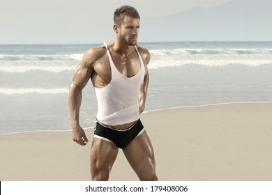 Beautiful muscular man on perfect beach in warm summer light