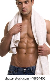 Beautiful muscular man with the towel.