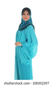 Beautiful Muslim fashion girl pose isolated on white