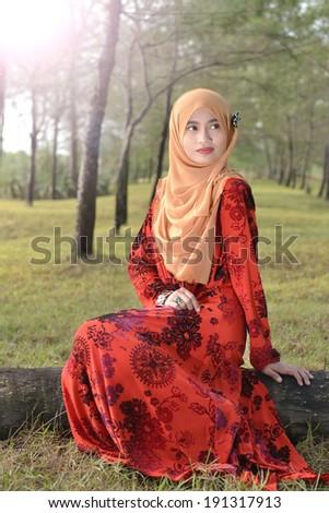 ed8b8edaa Beautiful Muslim Girl Wearing Red Dress Stock Photo (Edit Now ...