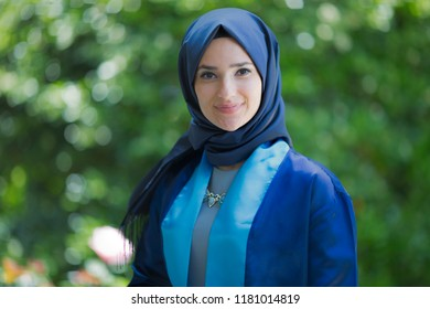 Beautiful muslim student celebrating her graduation from college