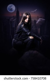 Beautiful Mysterious woman in black leather jacket overlooking the city during the night.Book cover