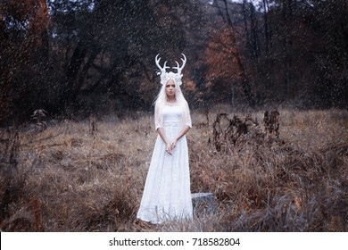 Beautiful mystery gothic woman in long white dress with deer horns in autumn forest. Dark fantasy creature elf in magic wood
