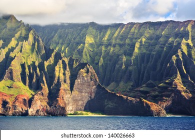 Beautiful Na Pali Coast as seen from off shore