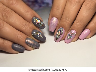 beautiful nail art design with stones pattern and color changing gel