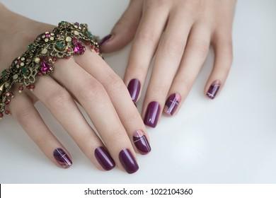 Beautiful Nail Art Manicure. Nail designs with decoration.Manicure nail paint.