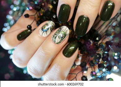 Beautiful Nail Art Manicure. Nail designs with decoration. Manicure nail paint. Nail Care And Manicure.