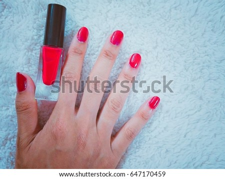 Beautiful Nail Color Woman Beauty Red Stock Photo (Edit Now ...