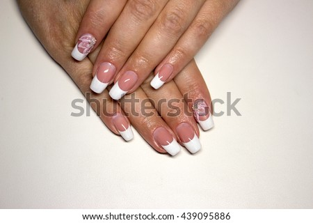 Beautiful Nail Design French Manicure Pink Stock Photo Edit Now