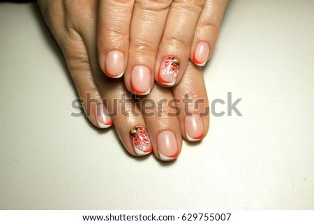 Beautiful Nail Design French Manicure Red Stock Photo Edit Now
