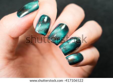 Beautiful Nail Polish Hand Green Nail Stock Photo Edit Now