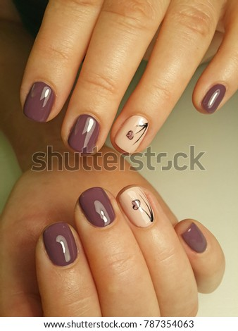 Beautiful Nails Design Flowers Stock Photo Edit Now 787354063