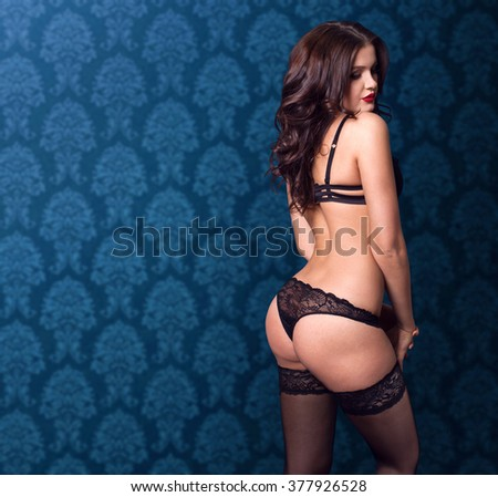 12374e7dc Beautiful Naked Brunette Woman Black Lace Stock Photo (Edit Now ...
