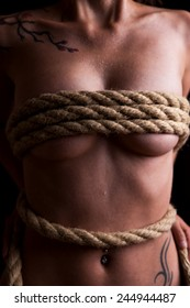 beautiful naked female body is bounded with a rope