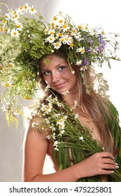 beautiful naked girl in a wreath of daisies and other flowers
