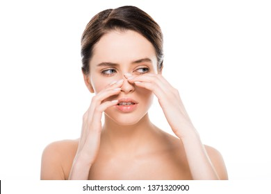 beautiful naked woman touching nose after rhinoplasty isolated on white