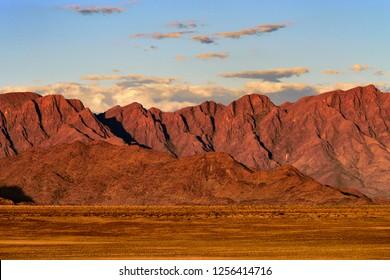 Beautiful namibian landscape at sunset, Sossusvlei, Namib Naukluft National Park, Namibia