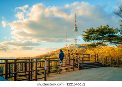 Beautiful namsan mountain view in autumn maple leaves Seoul, South Korea.
