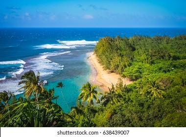 Beautiful Napali Coast, Kauai's famous coastline in Hawaii.