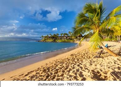 The beautiful Napili Bay in Maui, Hawaii short before sunset.